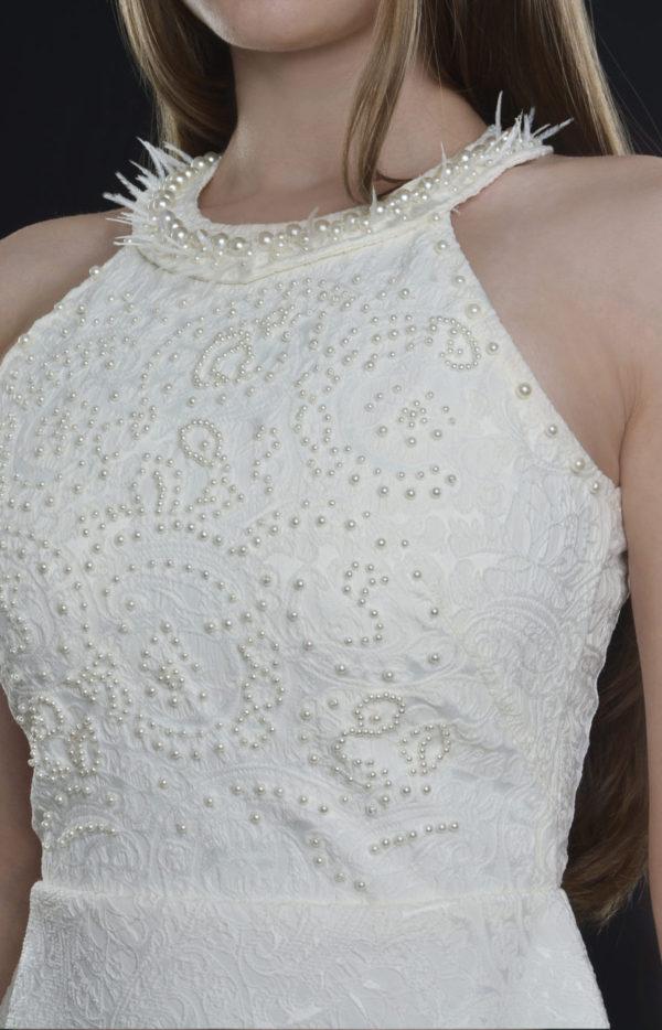 Rochie Alba Cu Pene Naturale si Perle
