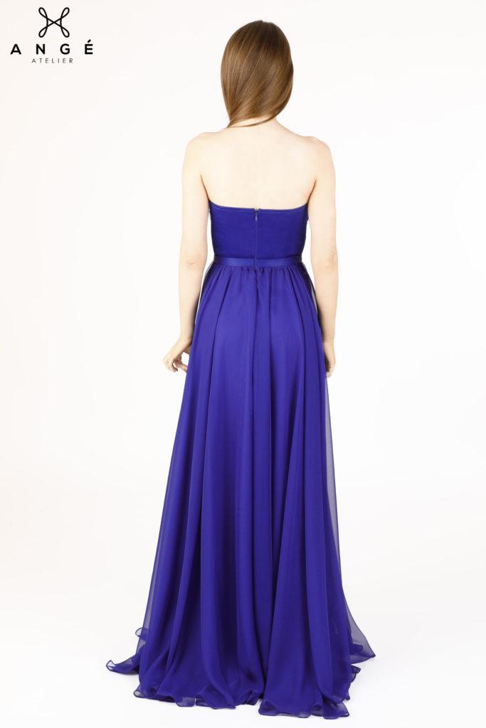 Rochie Lunga Model Unicat Pene Naturale Albastru Royal Voal Ange Atelier