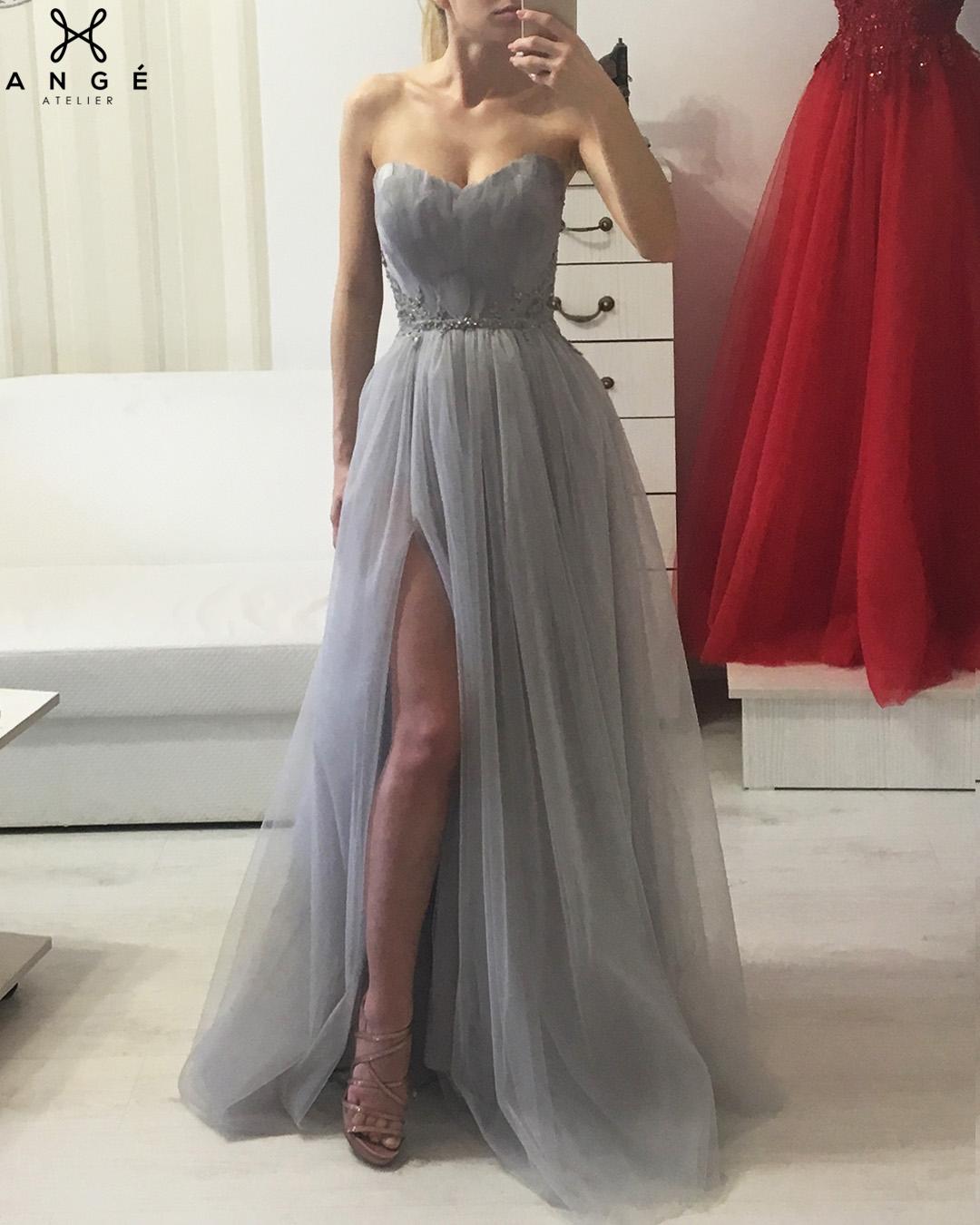 Rochie Banchet Tulle Printesa Lunga AngeAtelier.ro