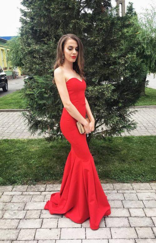 rochie rosie sirena lunga banchet