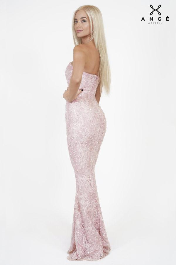 Rochie Sirena Dantela Pretioasa Roz Pastel Model Unicat Domnisoara Onoare AngeAtelier