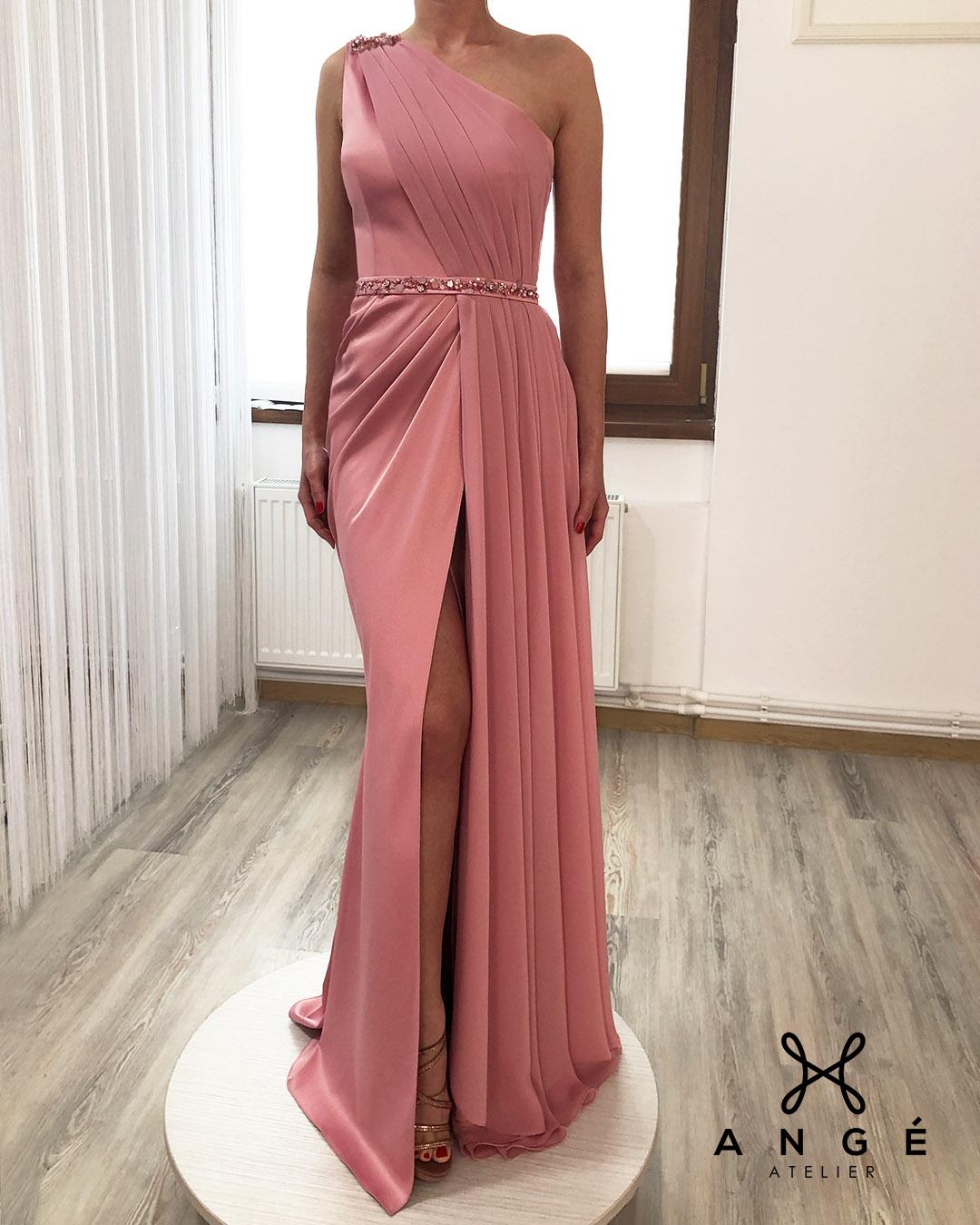 Rochie Umar Roz Prafuit Trena Voal Sirena Crapatura Accesorii Couture Model Bal Absolvire Banchet Nasa AngeAtelier