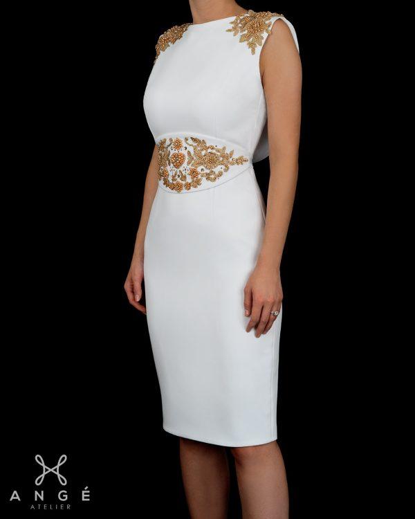 Rochie Ceremonie Civila Alba Broderie Couture Aurie Brau Mulata Corp Spate Gol Model Unicat AngeAtelier