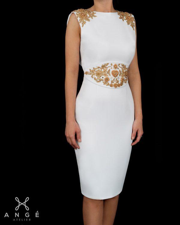 Rochie Model Unicat Cununie Civila Ceremonie Alba Broderie Couture Aurie Brau Mulata Corp Spate Gol AngeAtelier
