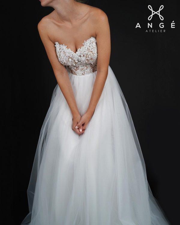 Rochie Mireasa Lunga Printesa Tulle Dantela Corset Model AngeAtelier