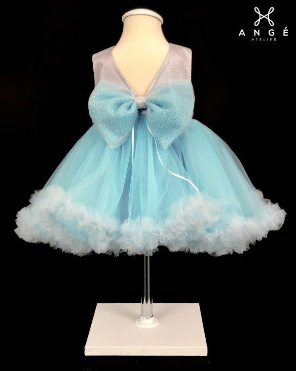 Rochie Botez Couture Fetita Model Lux Ocazie Bleu Printesa Tulle Funda AngeAtelier