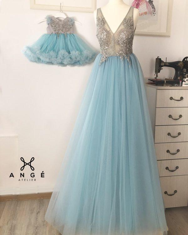 Set Mama Fiica Rochii Botez Elegante Tulle Bleu Elsa Argintiu Comanda Online AngeAtelier