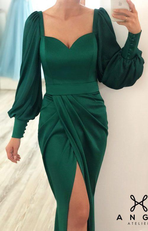 Rochie Lunga Model Toamna Verde Maneci Corset Crapatura AngeAtelier